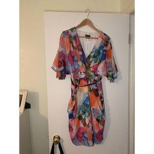City Chic Printed Faux Wrap Dress